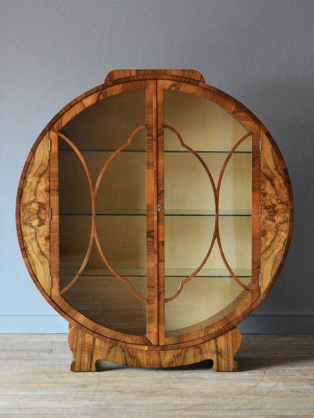 "Art Deco Display Cabinet Ca1930 England. 49.25""H x 45.25""W x 12.25""D."
