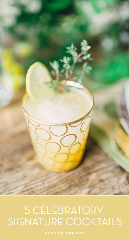 5 Celebratory Signature Cocktails // entertaining, wedding, drinks, parties,