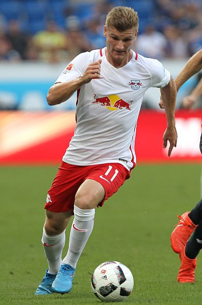 Leipzig's forward Timo Werner plays the ball during the German first division Bundesliga football match of TSG 1899 Hoffenheim vs RB Leipzig in...