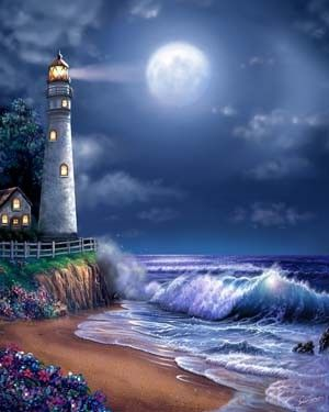 Midnight Lighthouse Mural - Steve Sundram| Murals Your Way