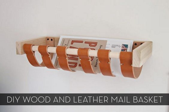 DIY...Leather and Wood Mail Basket: Magazine Rack, Diy Craft, Diy Project
