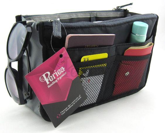 Periea Handtaschenordner, Einlage, Einsatz 12 Taschen groß 28x17x9cm - Chelsy Schwarz