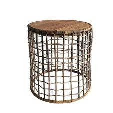 Open Weave Table with Wood Top