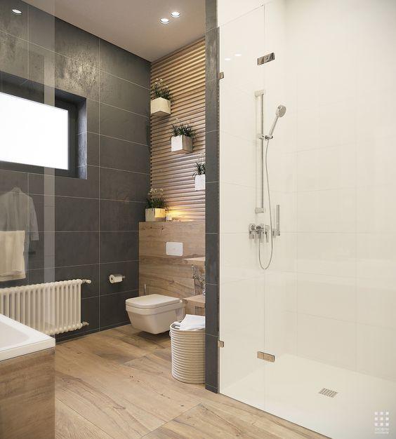 Inspiration #déco pour la salle de bains. #douche #baignoire #bois ...