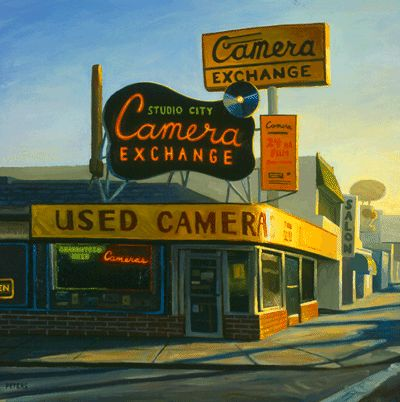 "Tony Peters, ""Studio City Camera Exchange"", 30 x 30 inches, oil on canvas. www.tonypetersart.com"