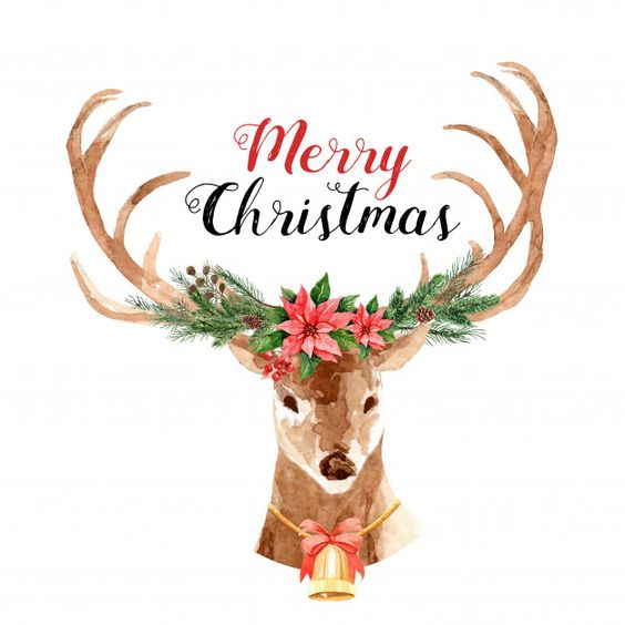 Reindeer Christmas watercolor with Bouquet on the antler. Premium Vector