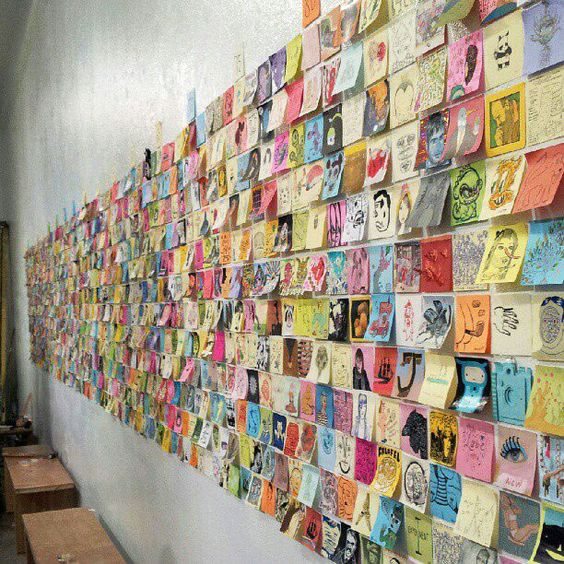 post-it art show @ giant robot gallery  www.boraborahut.com/2012/12/post-it-art-show-giant-robot-gallery.html