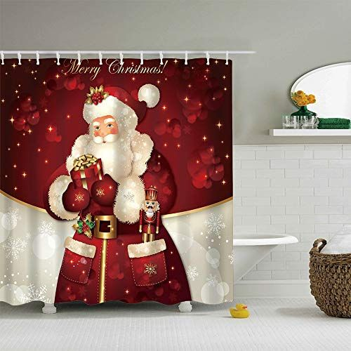 """Ezlif Merry Chrismas Shower Curtain Happy New Year Holiday Santa Claus Decoration 70/"""" x 70/"""" Polyester Fabric Waterproof Bathroom Shower Curtains Liner with 12 Rust Proof Hooks"""
