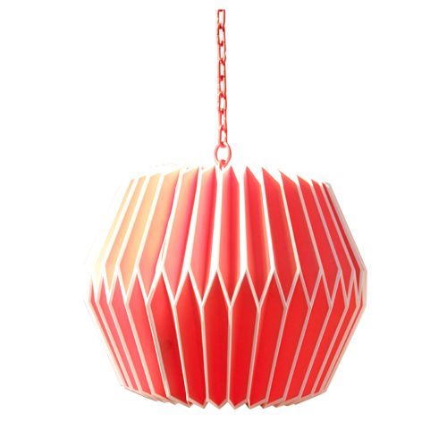 suspension en papier pliss rouge et blanc origami chehoma - Suspension Origami Ikea