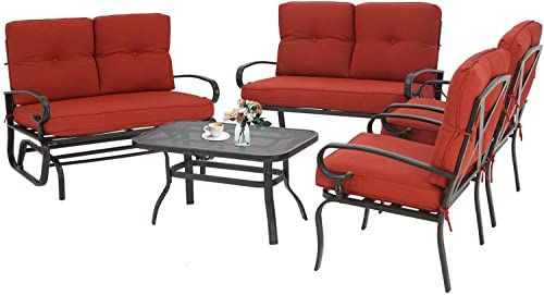 Buy Incbruce Outdoor Indoor Furniture 5pcs 6 Seats Patio Conversation Set Swing Glider Loveseat Coffee Table 2 Lounge Chairs Swing Glider Chair Steel Fra In 2020 Indoor Furniture Furniture Conversation Set Patio