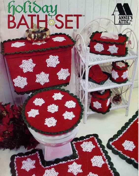 Juego De Baño Navideno A Crochet:Christmas Crochet Bathroom Sets