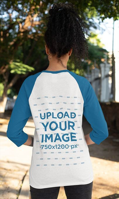 Download Placeit Back View Mockup Of A Woman Wearing Raglan T Shirt With Three Quarter Sleeves In 2020 How To Wear Three Quarter Sleeves Sleeves