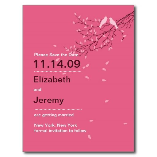 Love Birds Save the Date Postcard Pink