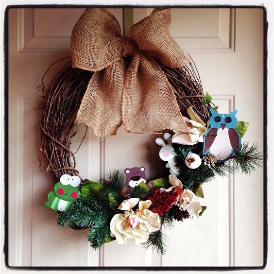 Woodland animals themed baby shower wreath