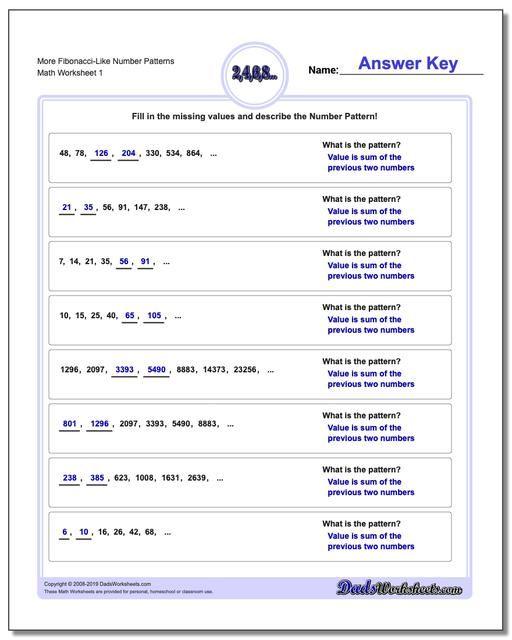 Https Www Dadsworksheets Com Number Patterns More Fibonacci