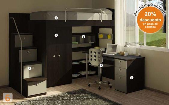 Google kids rooms and kid on pinterest - Camas con escritorio ...