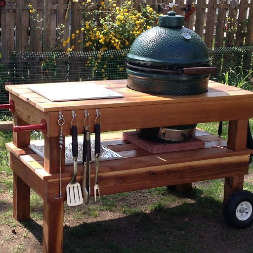 Tonyu0027s New Big Green Egg Grill. He Made The Table To Go With It And Stained  It Himself. | For The Home | Pinterest | Green Egg Grill, Big Green Egg  Grill ...