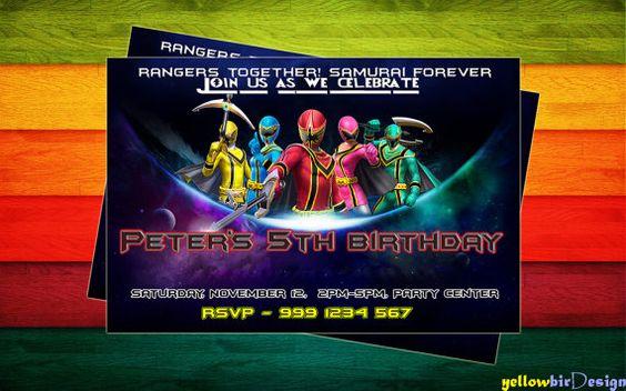 Power Rangers Birthday Invitation Digital File  by yellowbirdesign, $7.00