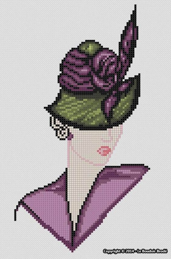 0 point de croix femme chapeau - cross stitch hat lady: