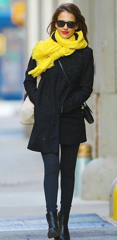 jessica alba lookin' good in a bright yellow scarf