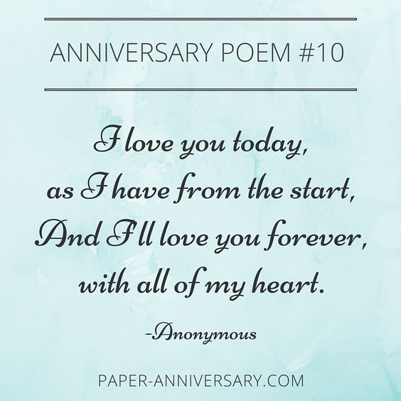 This blog post has 10 beautiful anniversary poems for your husband. Will save these for my 1-year anniversary card :-)