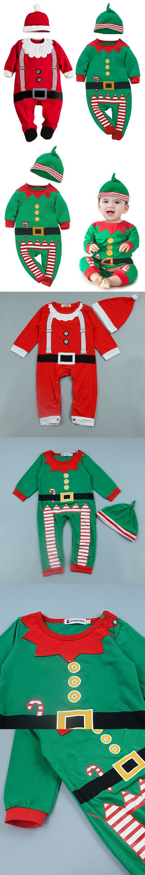 Christmas Baby Rompers Costume Kids Children Newborn Clothes Long Sleeve Spring Children Infant Clothing Set Top + Hat 2016 $6.54