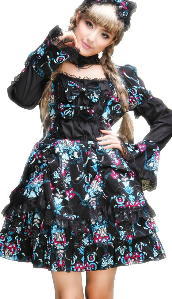 black floral lace trimmed gothic lolita dress