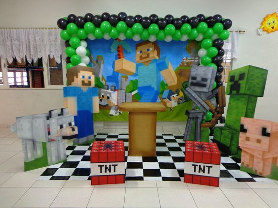 decoração festa infantil minecraft  Pesquisa Google  Kids Party  Pint -> Decoracao De Banheiro No Minecraft