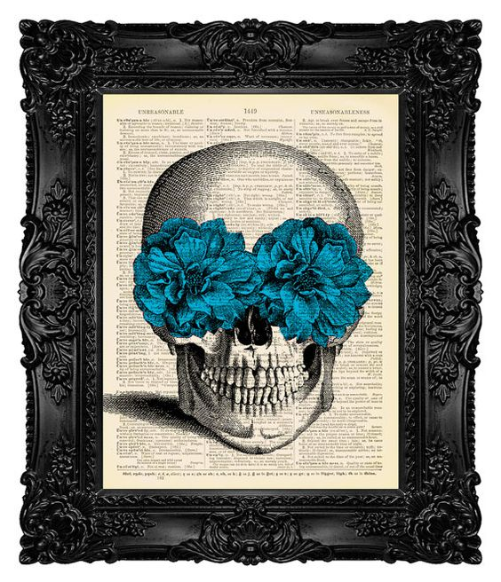 Dia de los Muertos, Halloween Decor, Day of the Dead, Sugar Skull Dictionary Art Print Blue Flowers Dictionary Art Print, Wall Decor no.282:
