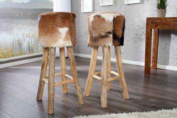 design barhocker hide mit echten ziegenfell und teakholz echtfell hocker tresenhocker nakupy. Black Bedroom Furniture Sets. Home Design Ideas