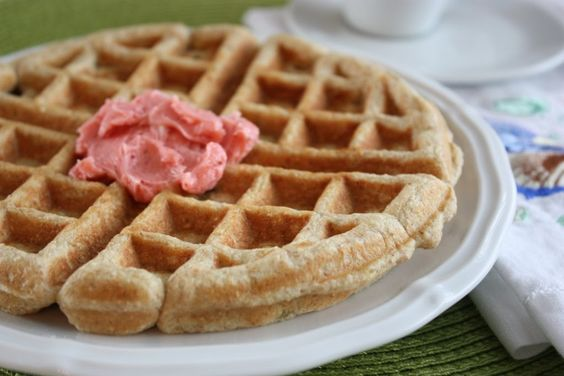 Whole Grain Rhubarb Waffles with Strawberry Butter | Fake Food Free