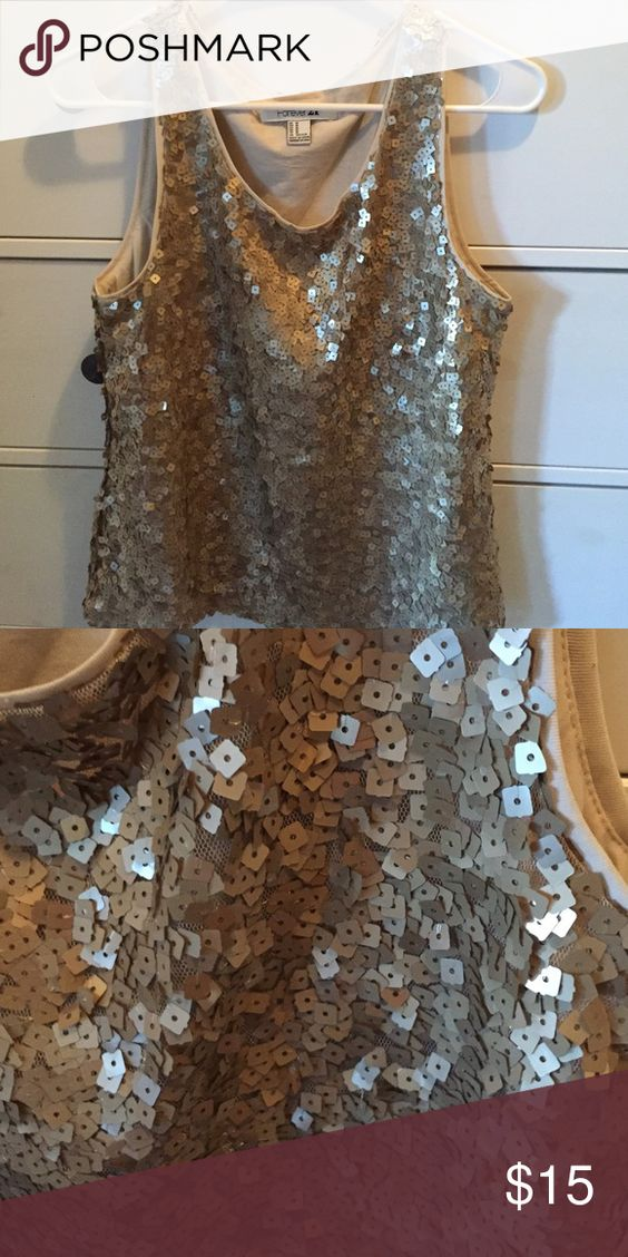 Sequin top Forever 21- gold sequin top Forever 21 Tops Tank Tops