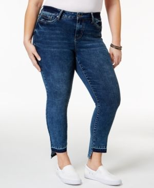 Rampage Trendy Plus Size Sophie Central Wash High-Low Jeans - Blue 16W