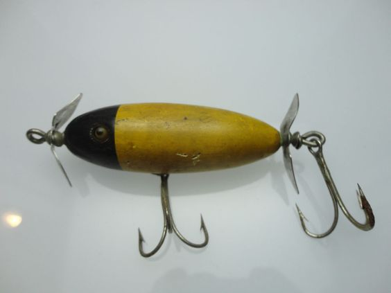 Antique 1920 39 s heddon fishing lure dowagiac minnow yellow for Heddon antique fishing lures
