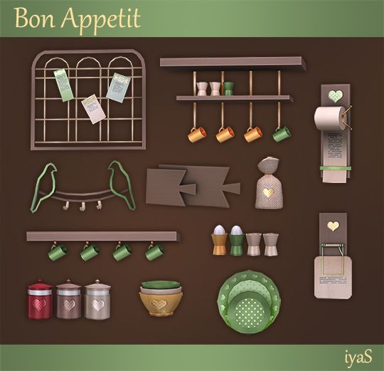 ***Bon Appetit*** The set includes 10 decorative objects and 2 functional shelves. Download If you need more pictures and download separated files you can do it here.