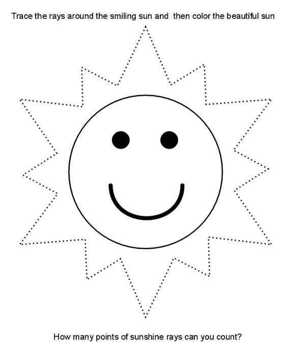 Traceable Sun Printable Picture. (Right-click and print) (kids, writing skills)