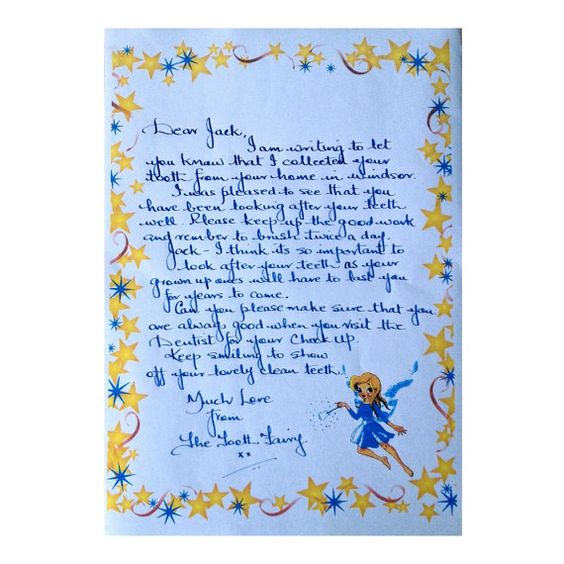 Handwritten Personalised Tooth Fairy Letters