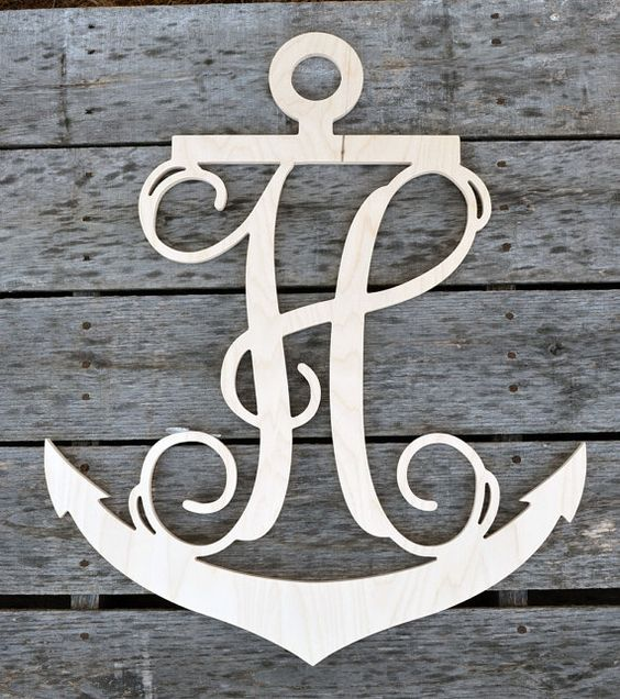 20 inch anchor wooden single letters wall monogram wood for Bedroom 5 letter words