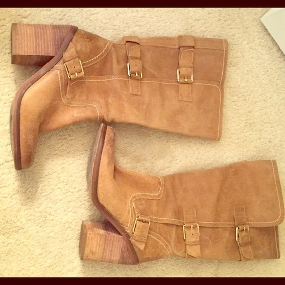 Tan Boots with Heel Perfect for everyday running around or dressing up a sundress! Comfy boots that are warm in the winter but versatile in the spring and summer as well. Tan boots with gold accessories (3 gold buckles). Size 7.5. Fergie Shoes Heeled Boots