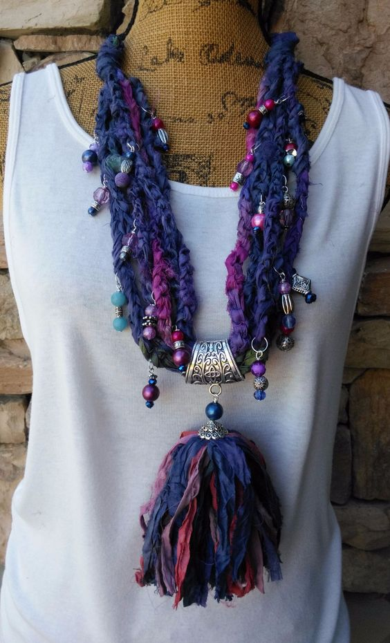 Now available in our store Sari Silk Stateme.... Check it out here: http://bling-beaded-baubles.myshopify.com/products/copy-of-gypsy-style-boho-chic-tassel-fair-trade-sari-silk-ribbon-statement-necklace-1?utm_campaign=social_autopilot&utm_source=pin&utm_medium=pin