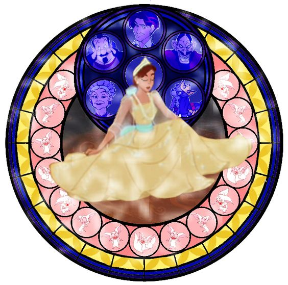 Fan Art of Anastasia Stained Glass for fans of Childhood Animated Movie Heroines.