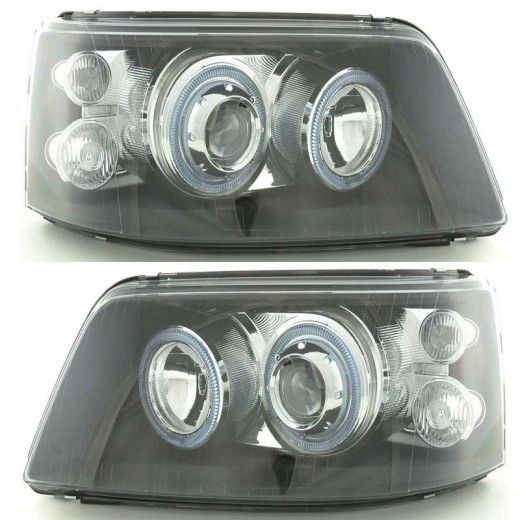 Volkswagen Transporter T5 Inc Caravelle 2003 2010 Black Angel Eyes Headlights Pair Vw Transporter Car Parts Replacement Car