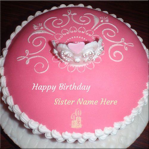 Brilliant Write Name On Princess Birthday Cake For Sister Happy Birthday Funny Birthday Cards Online Ioscodamsfinfo