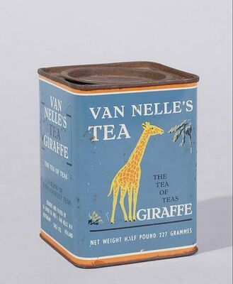 Van Nelle's Tea [Thee] Giraffe tin .. with artwork of giraffe on rectangular shape, inset lid, English text, Holland/The Netherlands