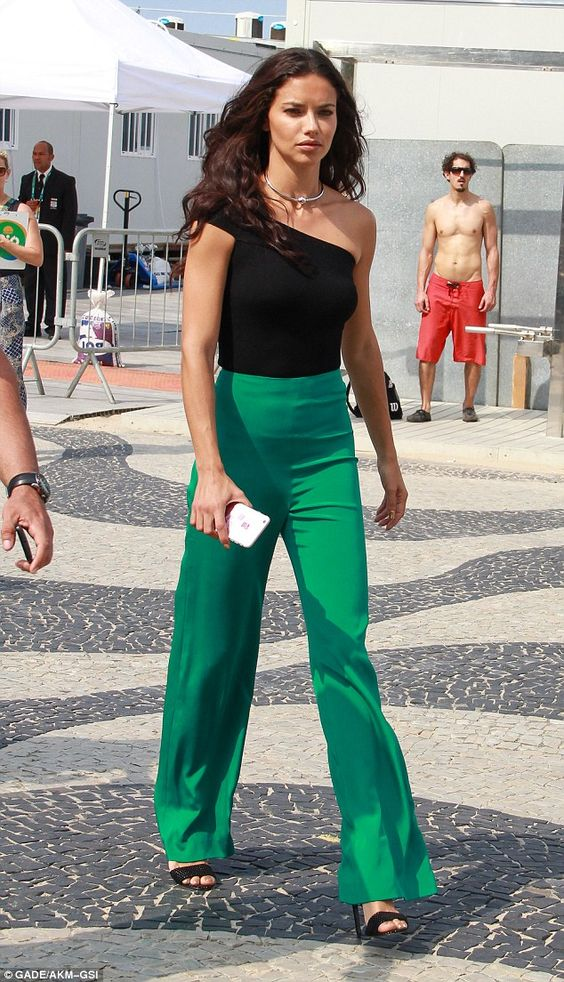 Podium-worthy pants:For her appearance, Adrina wore a pair of high-waisted emerald green flared pants