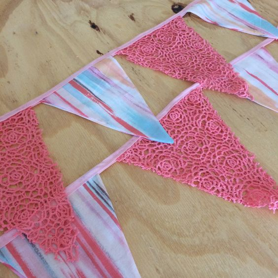 Stripe and Lace Boho Bunting by SewphiesChoice on Etsy