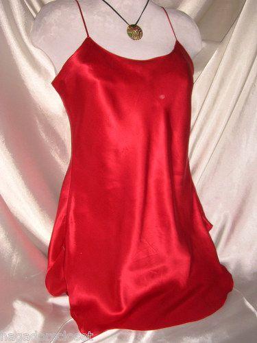 Victoria S Secret Red Silk Satin Nightgown Slip Dress