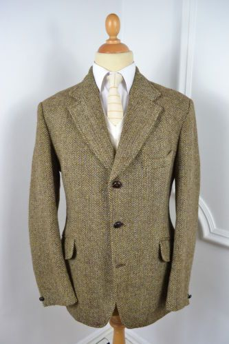 VINTAGE 1960's DUNN & CO GREEN HARRIS TWEED WOOL BLAZER JACKET LARGE 42 REGULAR