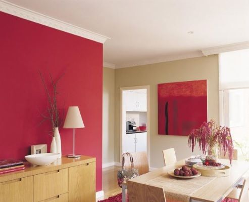 Balance Your Red Feature Wall With Artwork On An Opposing