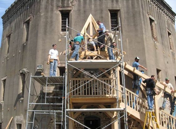 Construction of timber covered stair at the old Charleston Jail building